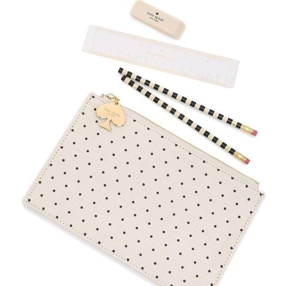 KATE SPADE ✏️ Black Polka Dots Pencil Pouch Set
